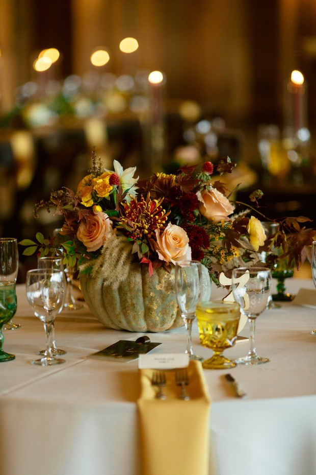 fall wedding pumpkin centerpiece