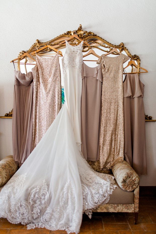 mix and match bridesmaid dresses in champagne
