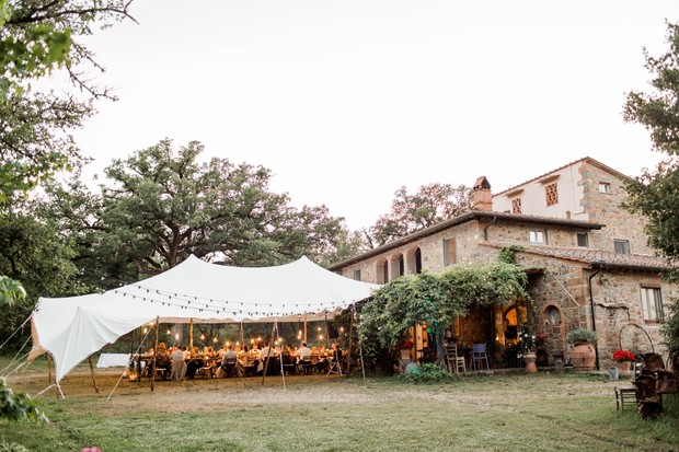 wedding reception at villa in Tuscany