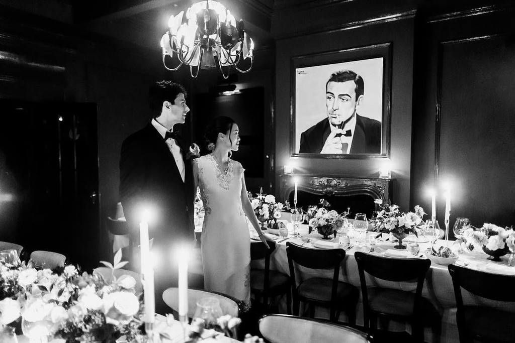 Flora + Will had a small candlelit dinner after their Central Park elopement in this speakeasy that was 1920s perfection in every way
