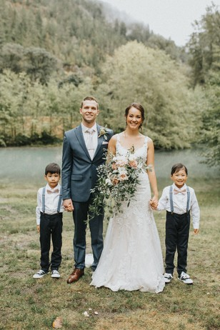bride groom and the ring bearers