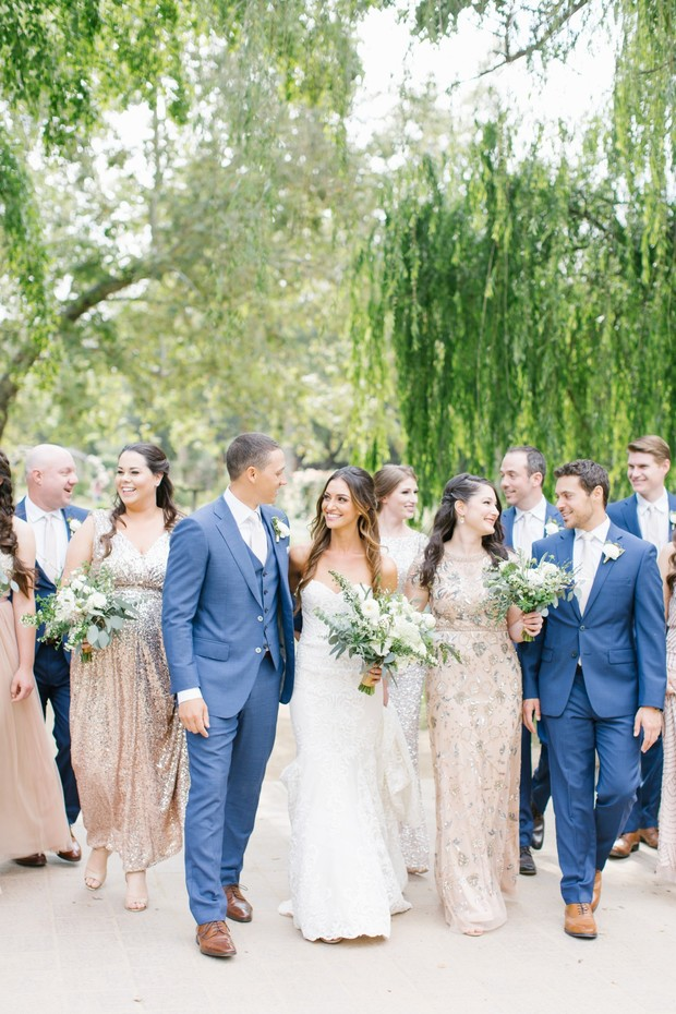 blue and blush wedding party
