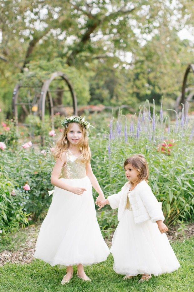 flower girls in white and gold