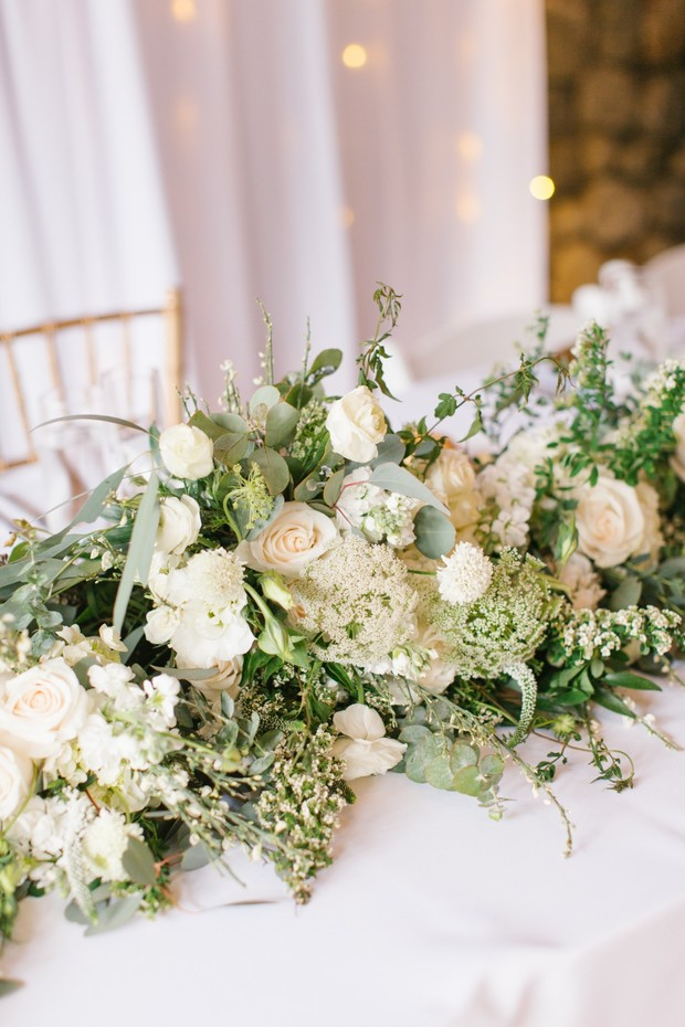 white and greenery table garland