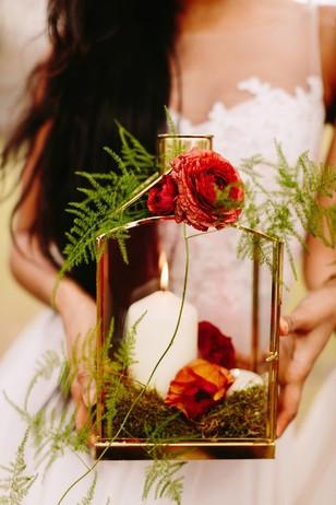 floral accented wedding lantern