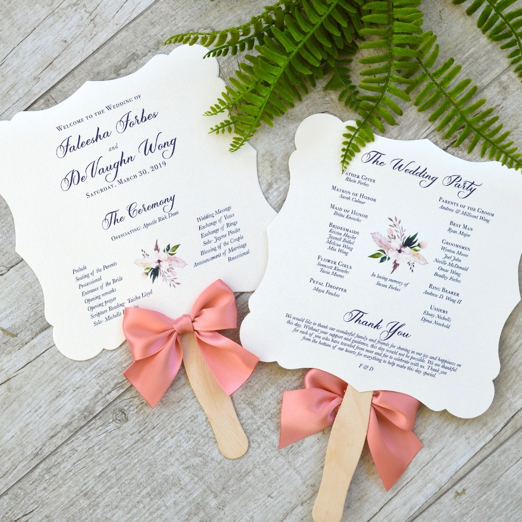 These whimsical wedding fan programs cools you off and is informative. Perfect for a warm outdoor wedding. 