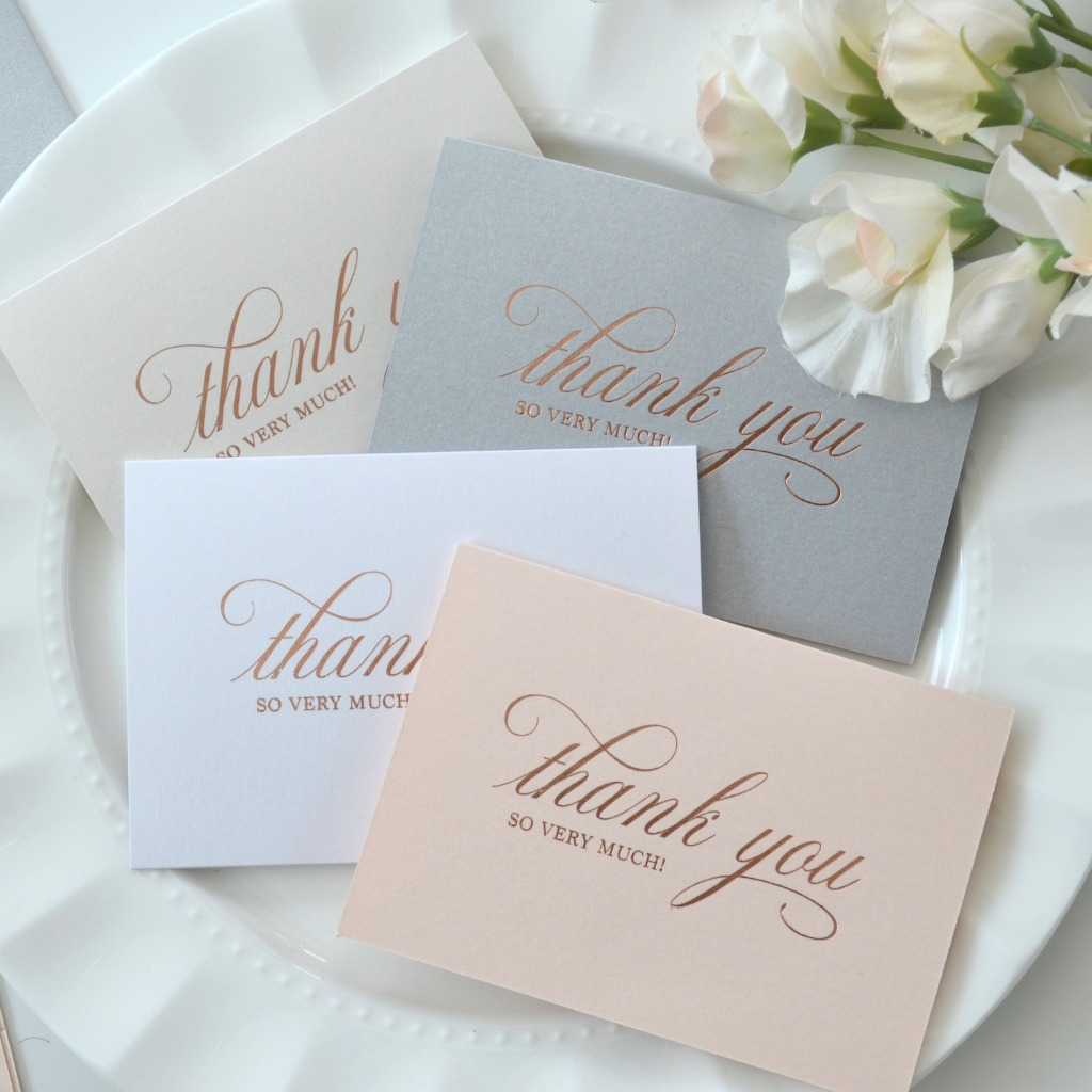 Say Thank You with these rose gold foil thank you cards to all of those friends, family and vendors that made your special day epic