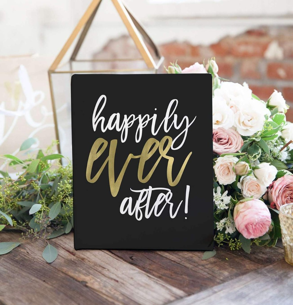 We love a little personality on a wedding day, and this Happily Ever After Wedding Sign is perfect to sit around your reception space