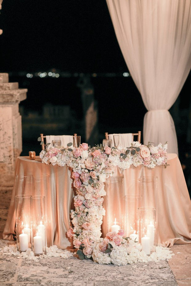 Bride and groom table design