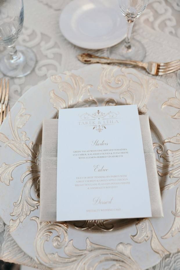 gold and white wedding menu