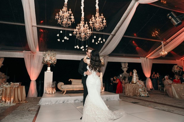 first dance under chandeliers