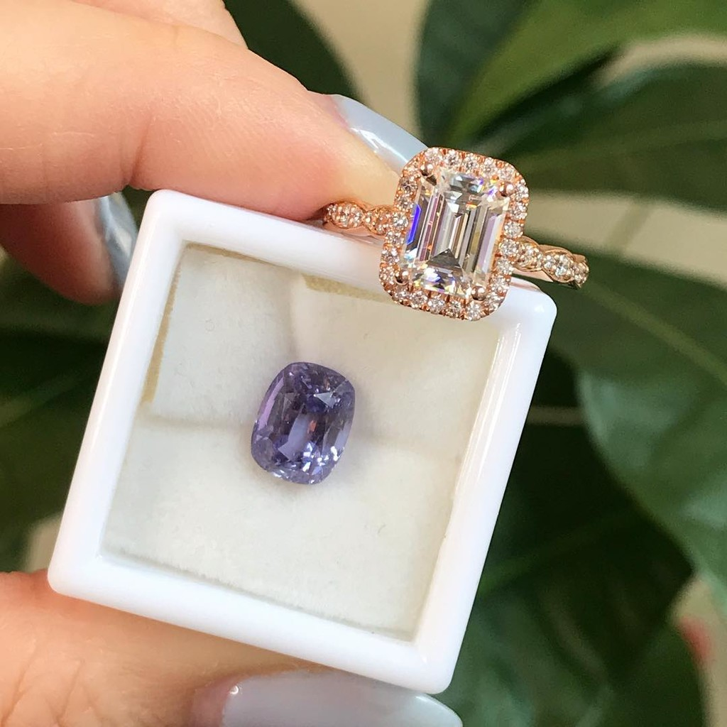Custom make your dream engagement ring today! 💍 This natural purple sapphire beauty would look gorgeous in our Luna Halo design