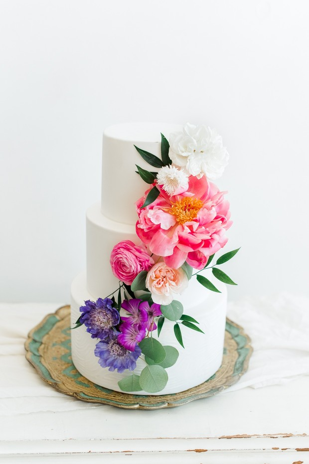 garden flower wedding cake