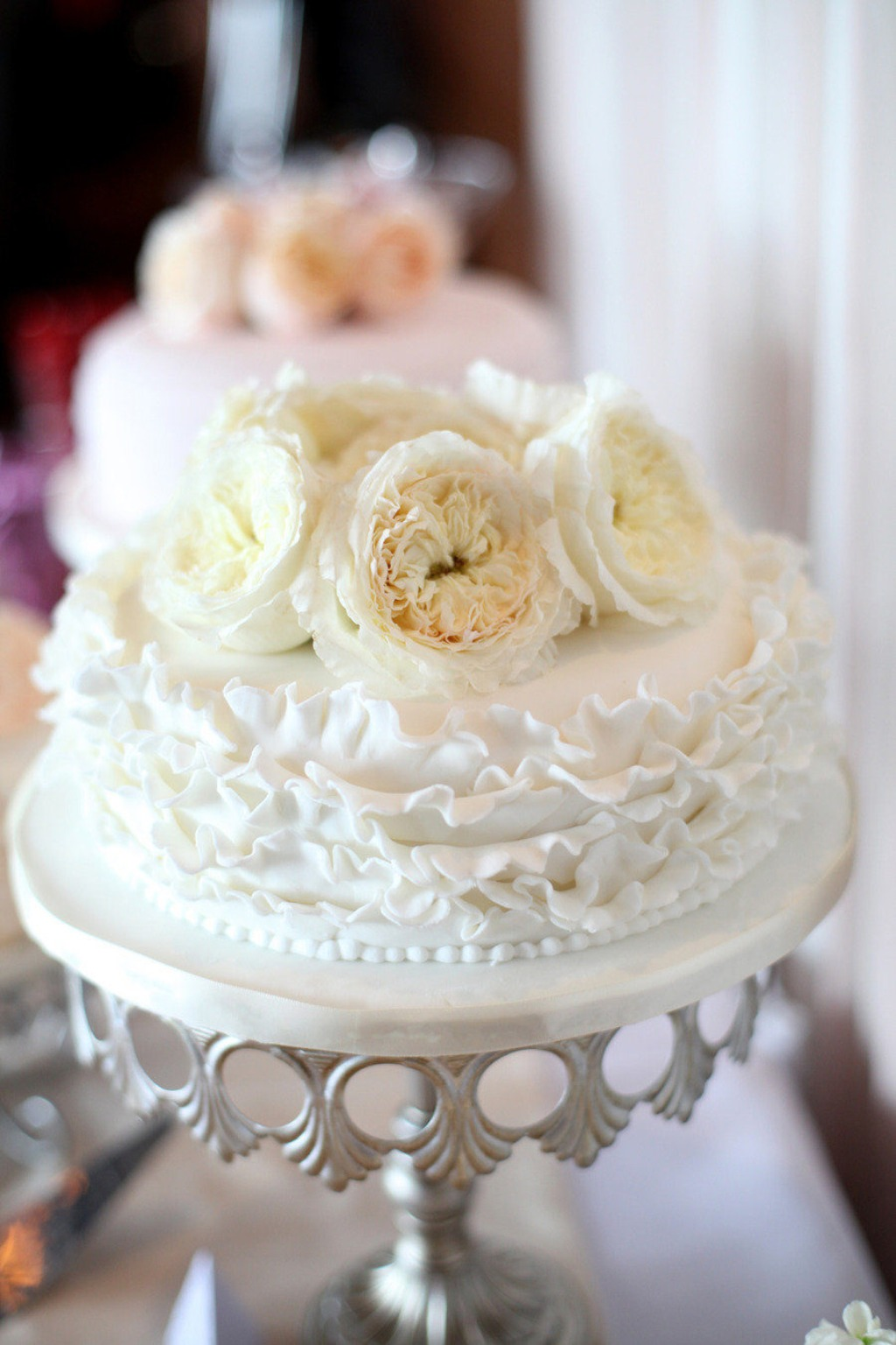 Pretty Ruffles and Fresh Flowers on an Antique Gold Crown Cake Stand created by Opulent Treasures { photography by A Simple Photograph