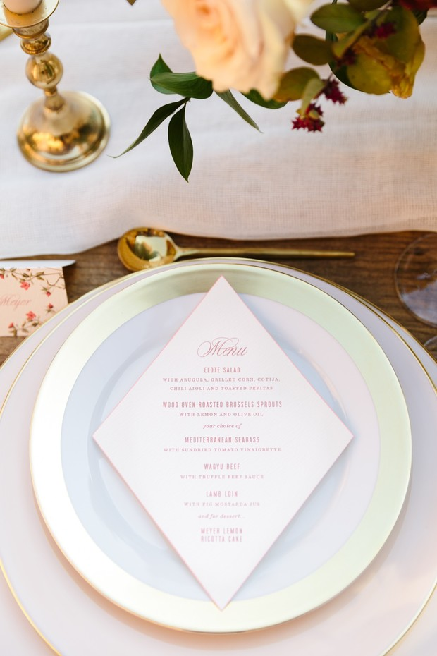 modern wedding menu design