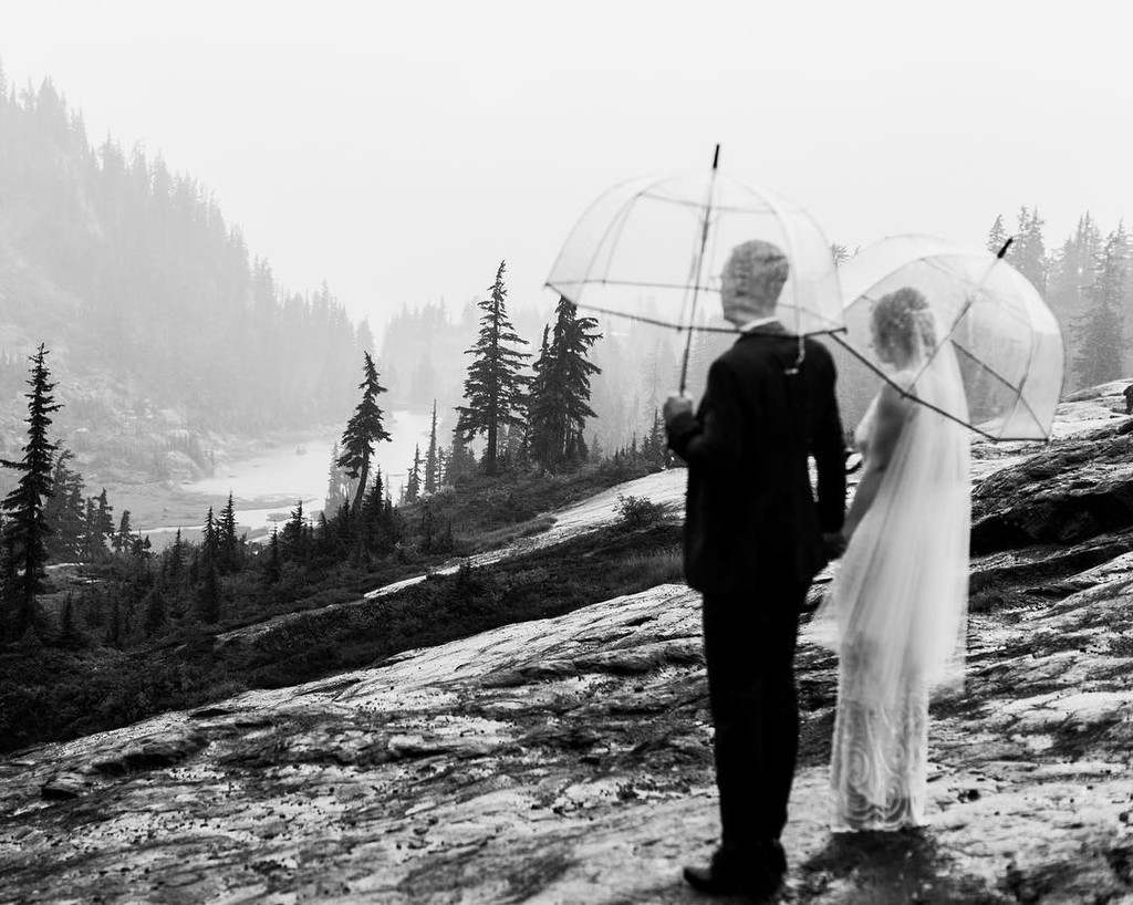 I love a rainy Washington wedding day. Makes for some moody and beautiful photos. (Not pictured, me almost slipping on a rock, but