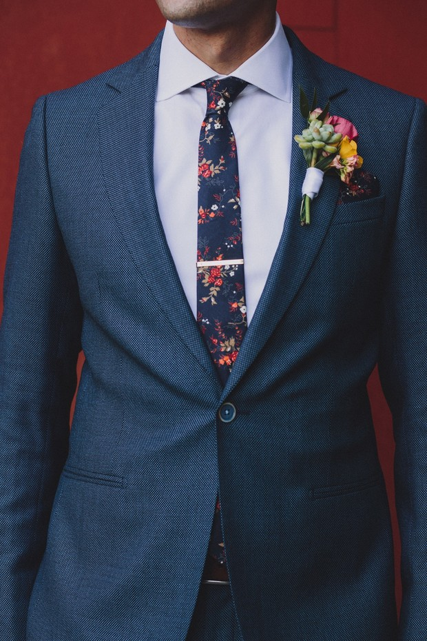 floral accented groom style