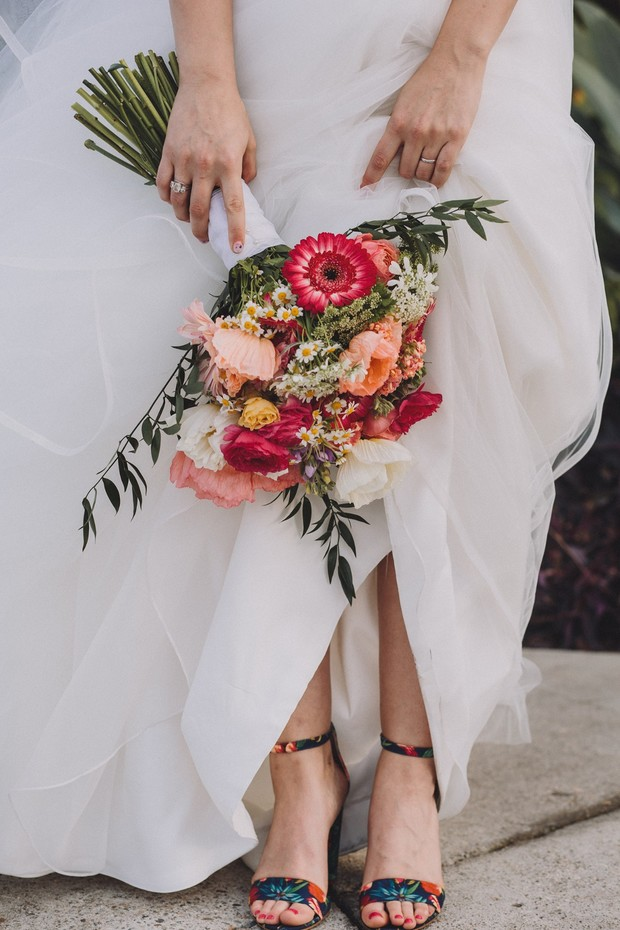 summer bouquet and floral shoes