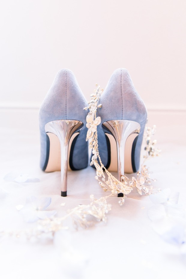 french blue and gold wedding shoes