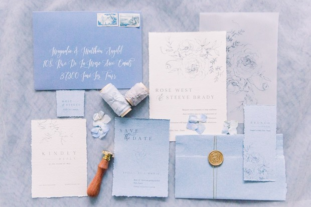 french blue wedding invitation suite