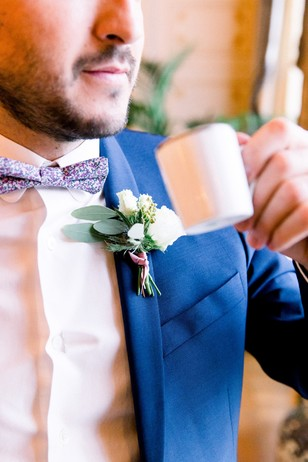 groom bow tie and boutonniere