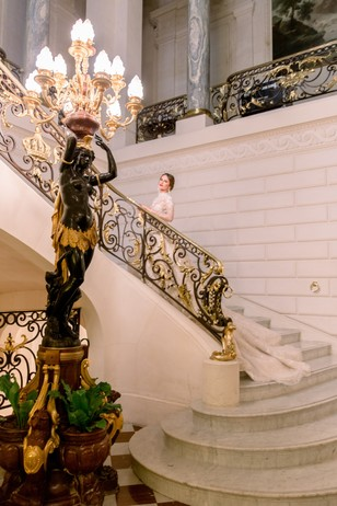 wedding photos on elegant staircases