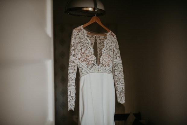 lacy wedding dress with long sleeves