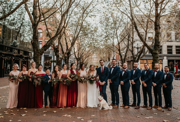 fall wedding party in Seattle