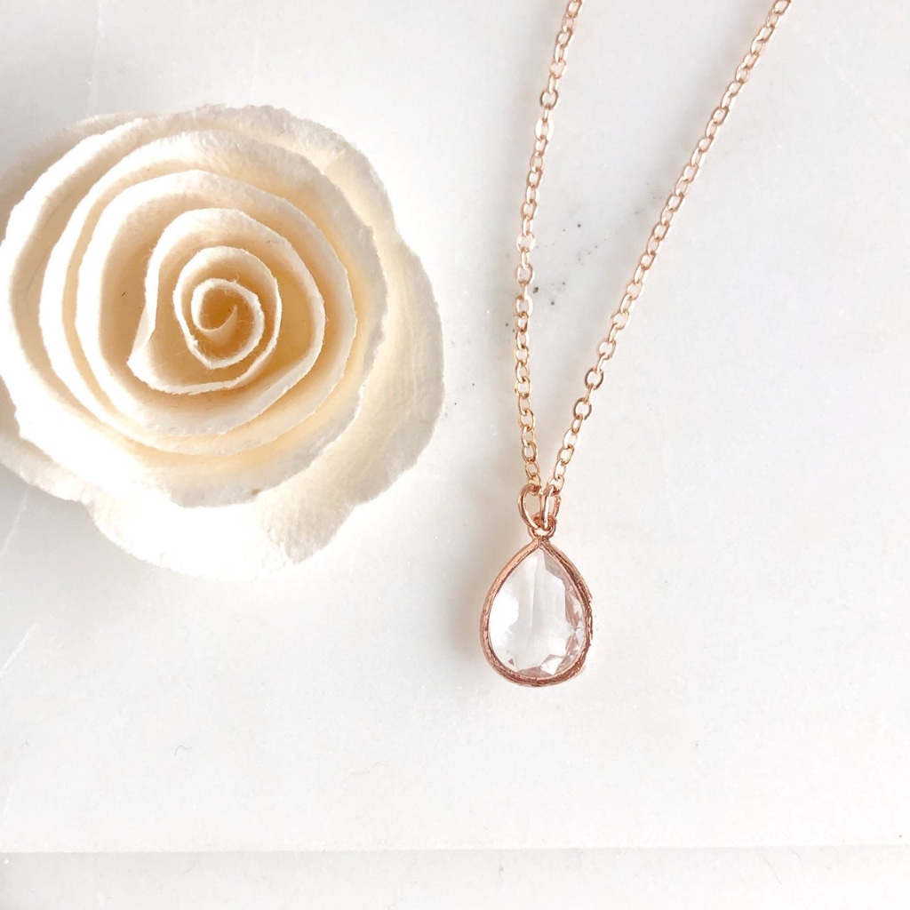 Gorgeous rose gold teardrop necklace, available in rose gold plated or 14k rose gold filled!