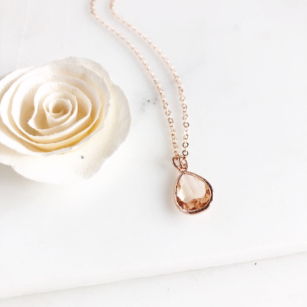 Rose gold champagne drop necklace, available in rose gold plated or 14k rose gold filled.
