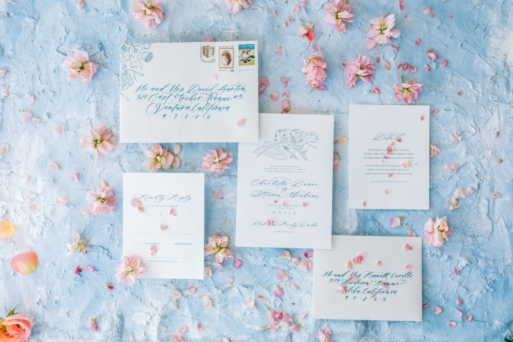 Beautiful dusty blue wedding invitations