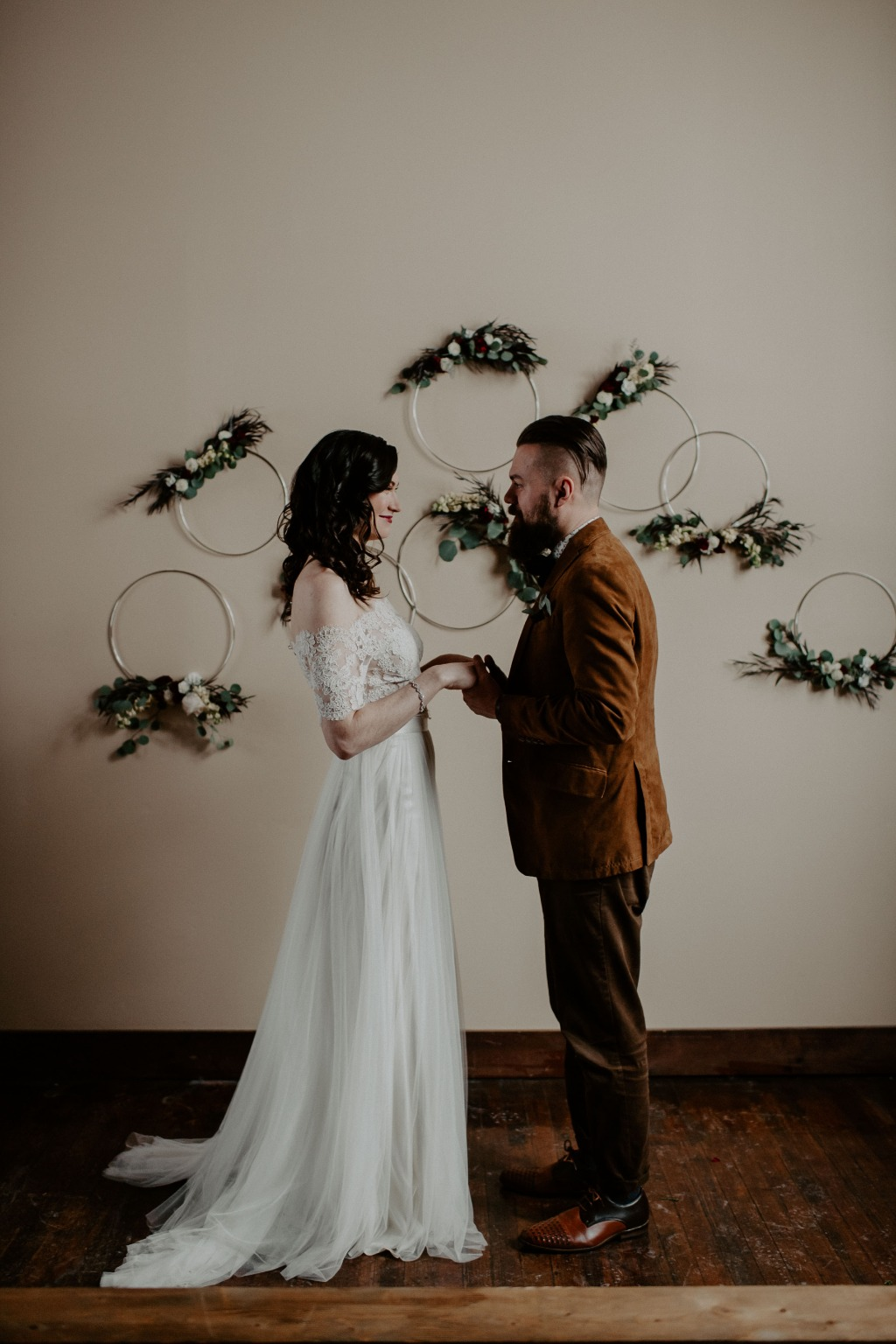 Moody Winter Wedding Inspiration With a Blend of Vintage + Modern Style | wedding dress: Lea-Ann Belter Bridal Laurel top + May skirt