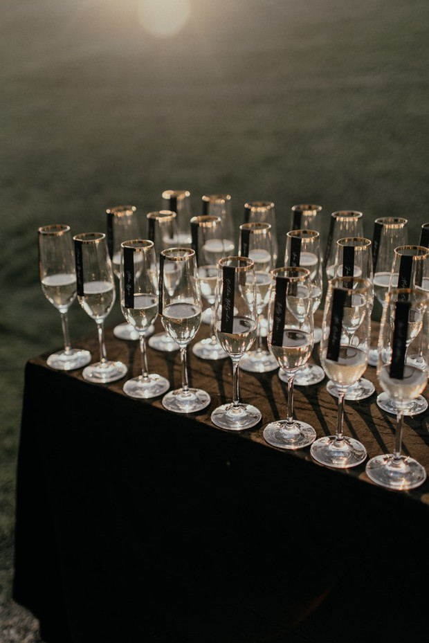 champagne glass place cards