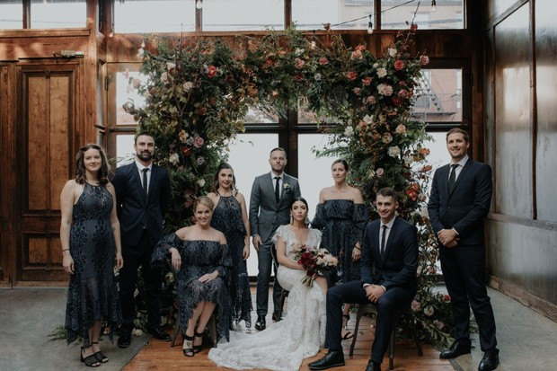 vintage style wedding party