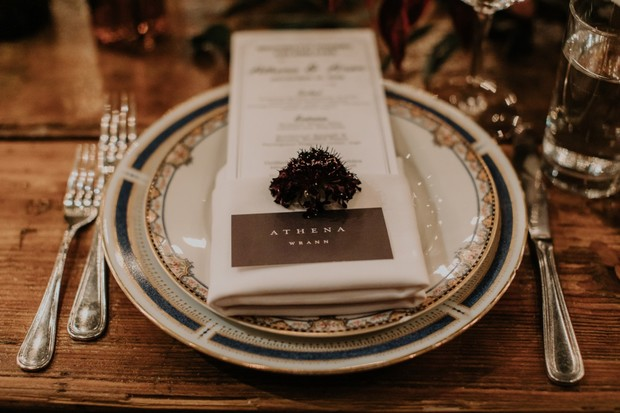 vintage speakeasy wedding place setting