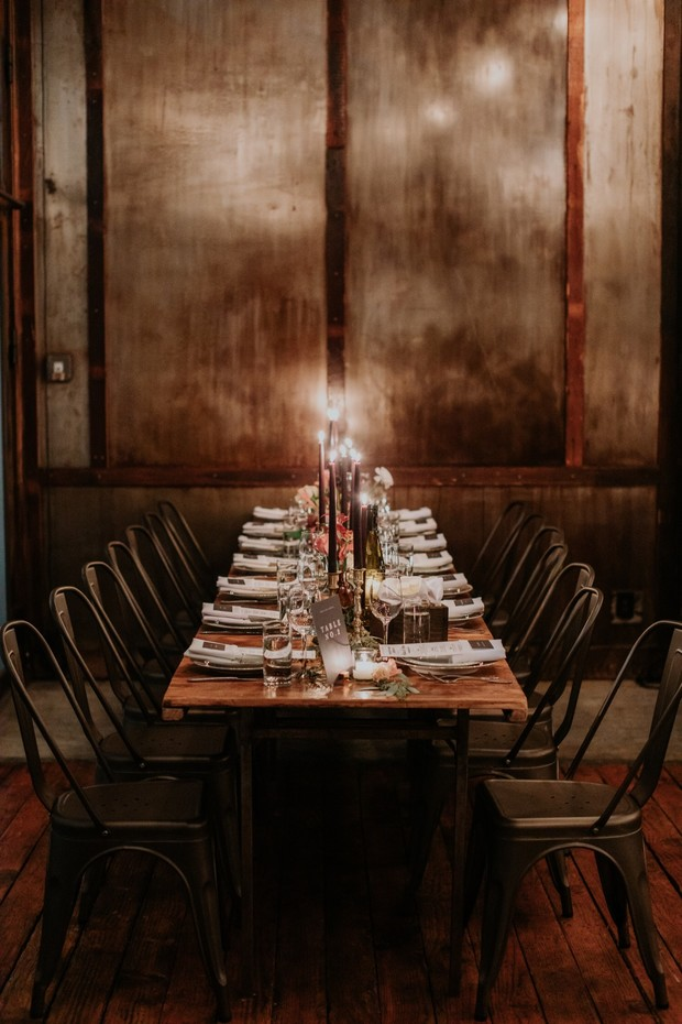 speakeasy style wedding table decor