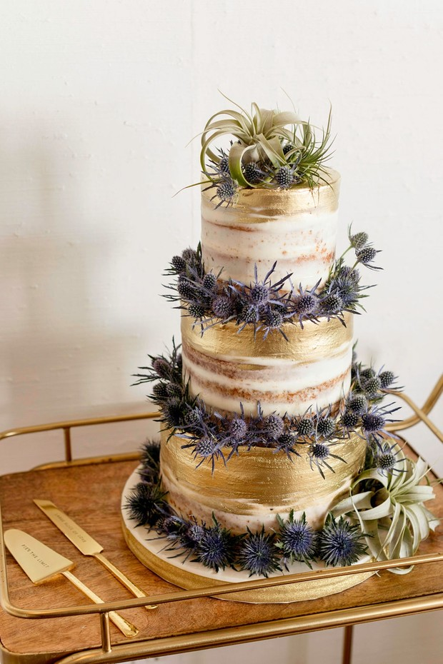 thistle topped wedding cake