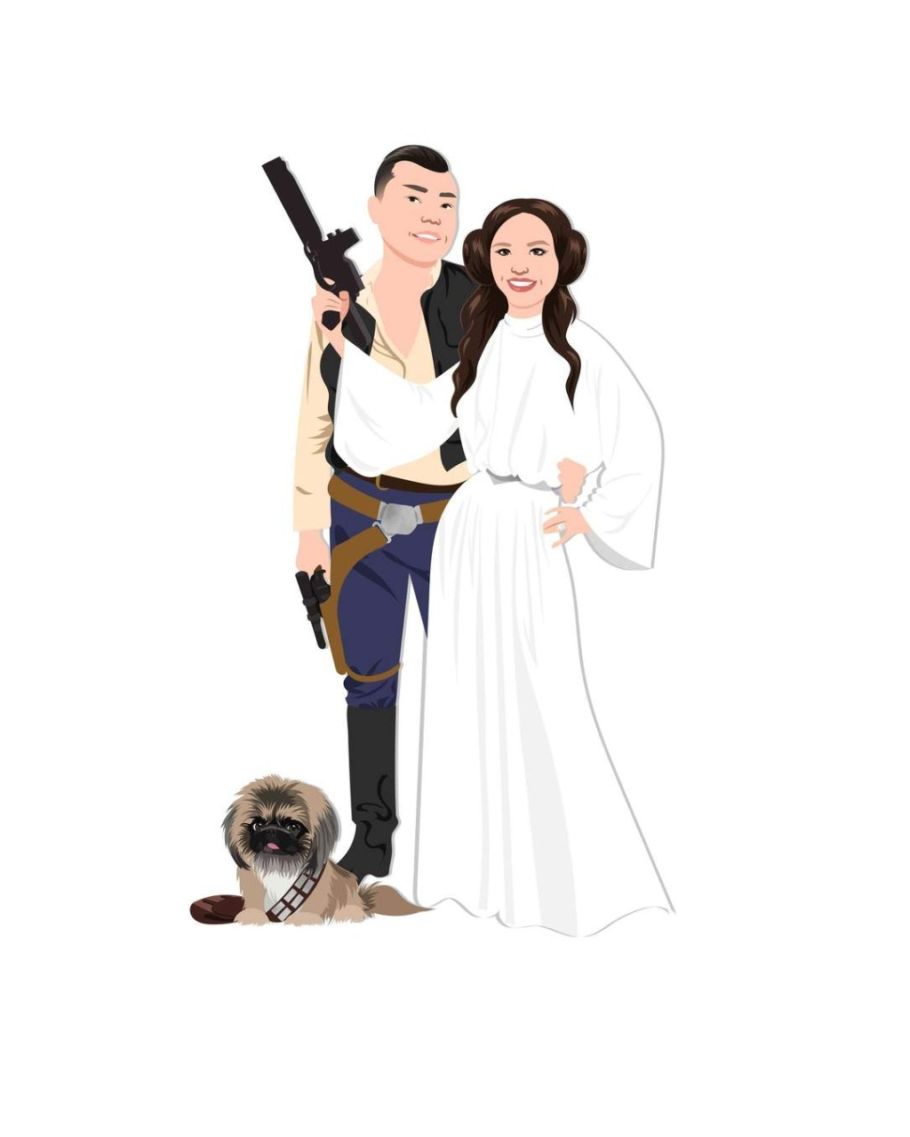 For all the star wars fans out there - this fun, themed digital couple portrait artwork is the perfect gift for your first anniversary