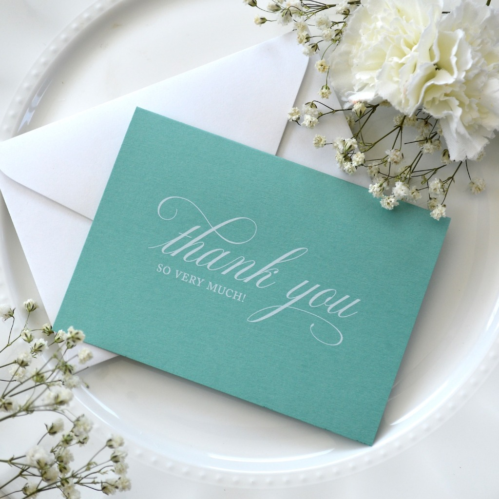 Stand out and say thank you in Tiffany blue. These elegant thank you cards come in a variety of colors, shop them and more: