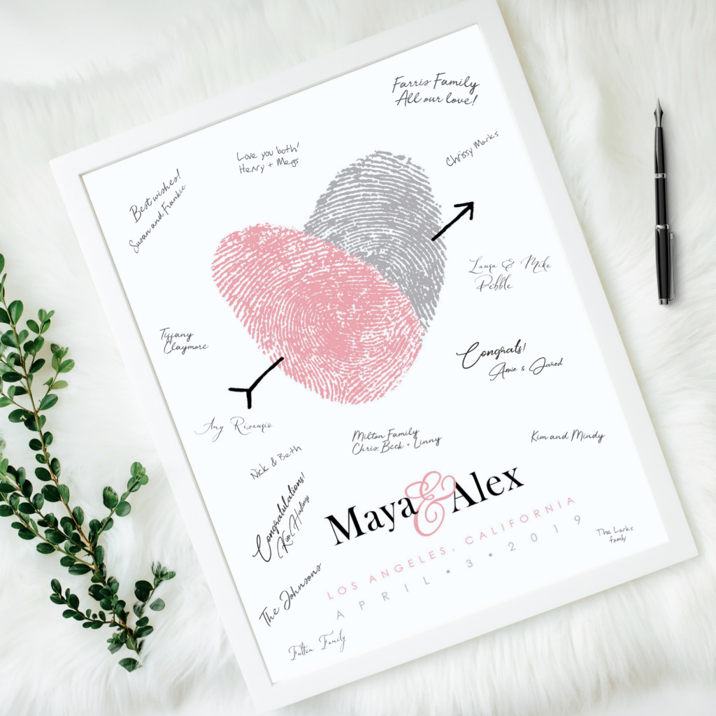 A guest book alternative as personal as your love story. Can be made with your own fingerprints. Pick your colors and coordinate with