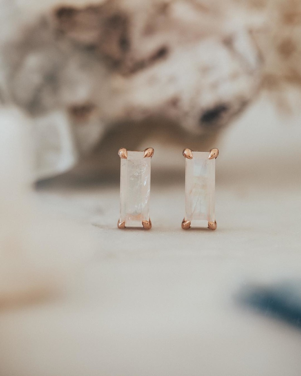 Magical moonstone baguette bar studs. Available online & in store now! 🌙