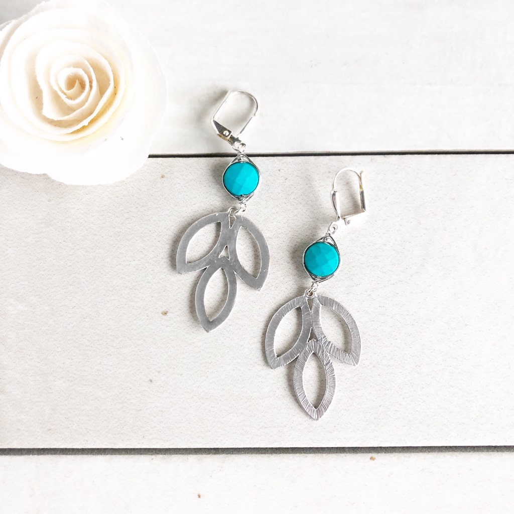 Silver Marquise Leaf and Turquoise Earrings.