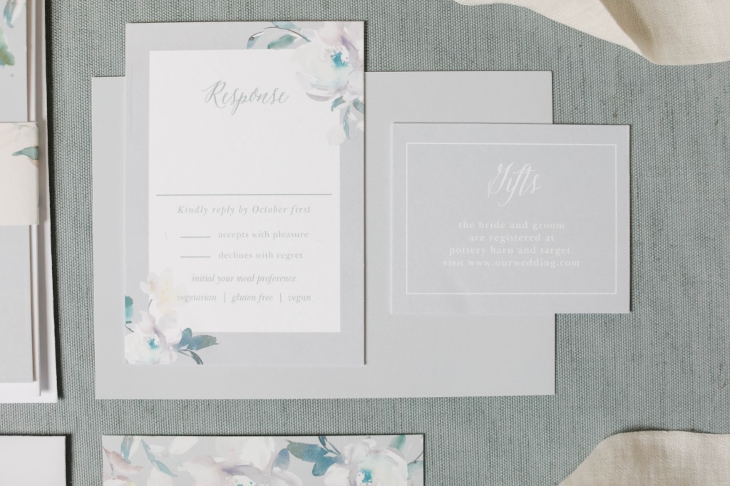 Dainty response cards to complete your Antique Blooms Wedding Suite will be sure to have your guests swooning!