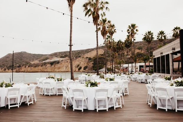 outdoor deck wedding reception in San Diego
