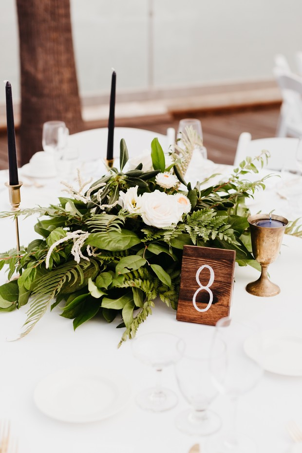 wood table numbers for a wedding