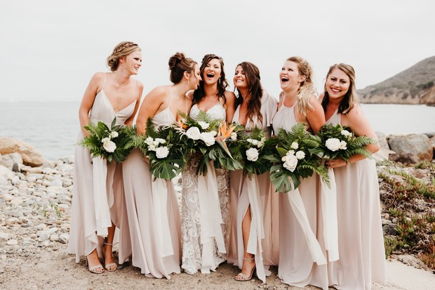bridesmaid in neutral dresses