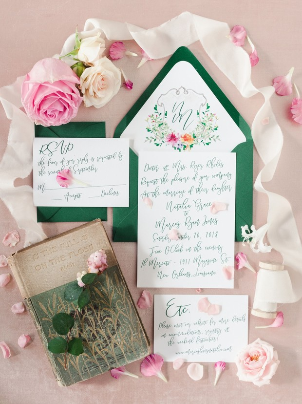 wedding invitation suite in emerald green