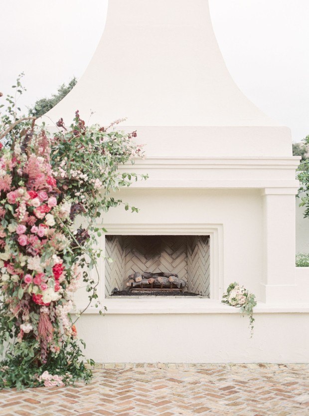 fireplace ceremony backdrop