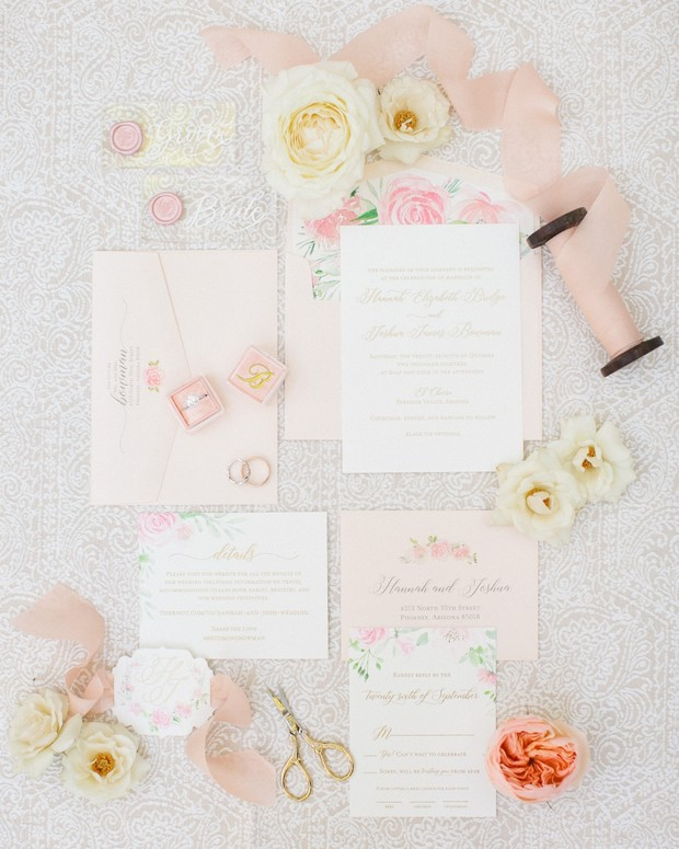 blush floral wedding invitation suite
