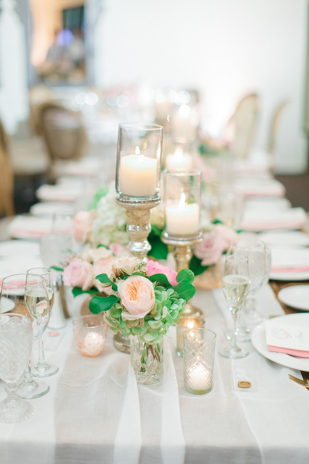 floral and candle wedding centerpiece